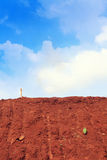 Red Soil with Blue Sky Stock Photo