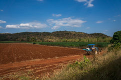 Red soil and manioc fields in Thailand with mountains in the bac Stock Photo