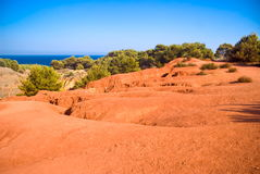 Lake near a quarry of bauxite, Italy Stock Photos