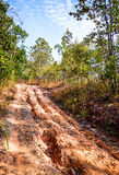 Red soil road damaged. Stock Image