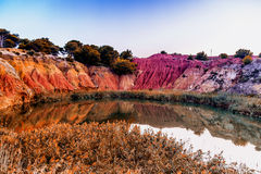 Red soils around the lake in bauxite quarry Royalty Free Stock Photo
