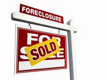 Red Sold Foreclosure Real Estate Sign on White stock image