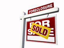 Red Sold Foreclosure Real Estate Sign on White Royalty Free Stock Photo
