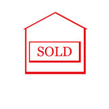 Red sold house. Flat design.  Vector Illustration Royalty Free Stock Photos