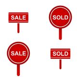 Red Sold Sign Collection Stock Images