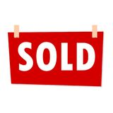 Red Sold Sign - illustration on white background Stock Photography
