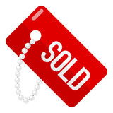 Red Sold Tag Flat Icon Isolated on White Stock Images