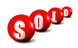 Red Sold Word Made Of Spheres On White Royalty Free Stock Image