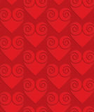 Red solid swirly hearts on checkered background Stock Photo