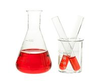 Red solution in flask and test tube Stock Image