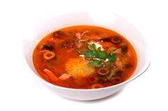 Red solyanka soup Royalty Free Stock Images