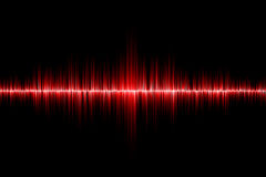 Red sound wave background. Red sound wave on black background Royalty Free Stock Photo