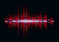 Red sound waveform with hex grid light filter. Red shiny sound waveform with hex grid light filter Royalty Free Stock Image