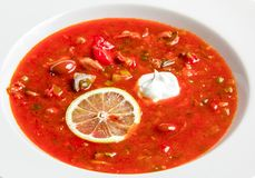 Red soup with beans Royalty Free Stock Images