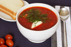 Red soup-borsch with bread Stock Photos