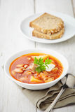 Red soup borsch with meat Royalty Free Stock Images