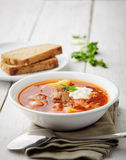 Red soup borsch with meat Stock Image