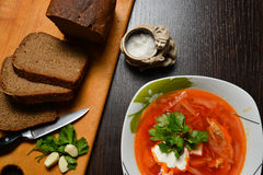 red soup with herbs bread garlic royalty free stock photography
