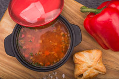Red soup with pepper Royalty Free Stock Images