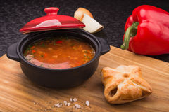 Red soup with pepper Stock Photo