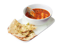 Seafood soup with focaccia Stock Images