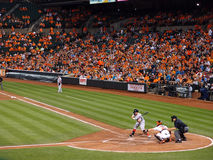 Red Sox Batter check swing as Orioles catcher catches the pitch Stock Images