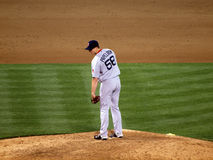 Red Sox closer Jonathan Papelbon stands on mound looking towards stock photo