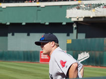 Red Sox closer Jonathan Papelbon waits in bullpen royalty free stock image