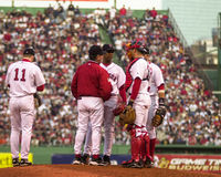 Red Sox on the mound. Stock Image