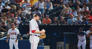 Red Sox pitcher. Boston Red Sox pitcher Papelbon is getting ready to throw they ball to an Atlanta Braves batter Stock Photography