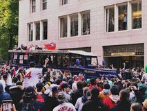 2018 Red Sox world champions parade in Boston stock images