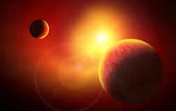 Red Space. With planet and Sun Royalty Free Stock Photography