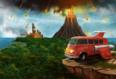 Red Space minivan on an alien planet Stock Image