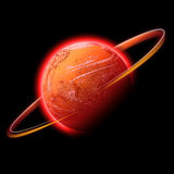 Red space planet. A red hot glowing planet with a glowing ring of light around it. This works well as Mars Royalty Free Stock Photography