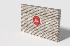 Red Spam traffic sign on brick three-dimensional wall Royalty Free Stock Photo