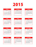 2015 red spanish calendar. Weeks starting from sundays. Vector illustration stock illustration