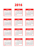 2016 red spanish calendar. Weeks starting from Sundays. Vector illustration Stock Image
