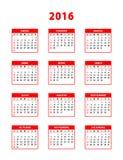 2016 red spanish calendar Stock Image