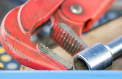Red Spanner And Wheel Wrench. Stock Image