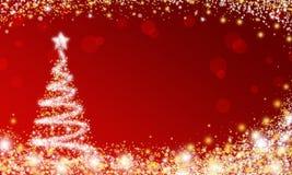 Red Sparkle Christmas tree wallpaper stock illustration