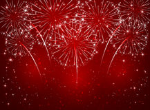 Red sparkle firework. Sparkling fireworks on red shiny background, illustration Royalty Free Stock Photography