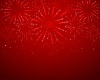 Red sparkle fireworks. On dark background, illustration royalty free illustration