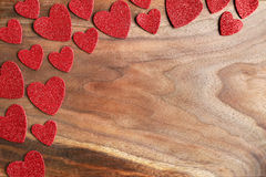 Red Sparkle Valentine`s Hearts Border Cherry Wood Grained Backgr Stock Photo