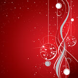 Red sparkling background. With hanging globes Stock Images