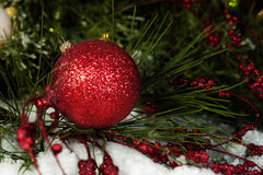 Red Sparkling Christmas Ornament stock photos