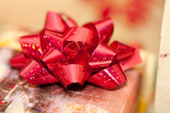 Red sparkly bow Stock Images