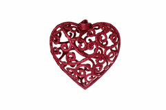 Red Sparkly Christmas Heart Decoration. Isolated Red Sparkly Christmas Heart Decoration Stock Photos