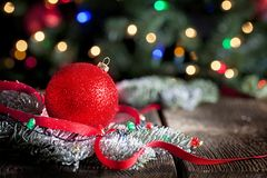 Red Sparkly Christmas Ornament Bokeh Background stock image