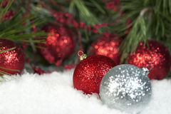Red Sparkly Christmas Ornaments Royalty Free Stock Photo