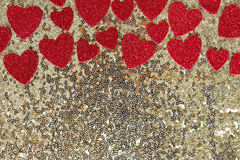 Red Sparkly Heart Confetti Framing Gold Sequin Background Royalty Free Stock Images